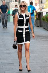 Ashley Roberts in Black and White Buttoned Dress 09/15/2020