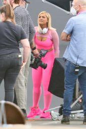 Bebe Rexha - Filming an Ad For JBL Headgear in LA 09/28/2020