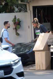 Bebe Rexha - Gets a New Ferrari Delivered to Her Home in LA 09/17/2020