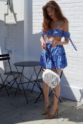 Blanca Blanco in a Blue and White Outfit - West Hollywood 08/31/2020