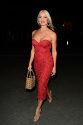 Caprice in a Red Strapless Lacy Dress - Mecca Bingo Live in London 09/18/2020