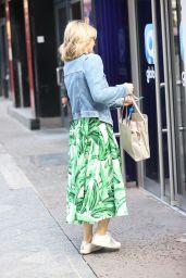 Charlotte Hawkins in Floral Skater Dress and Denim Jacket - London 09/04/2020
