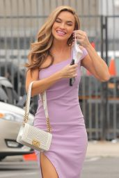 Chrishell Stause in a Pink Dress - Arrives at the Studio for a Press Conference in LA 09/08/2020