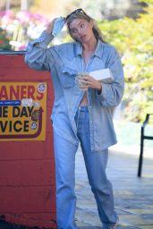Elsa Hosk in Double Denim - Getting Coffee and Pastries in LA 09/06/2020