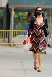 Famke Janssen in a Colorful Dress in Soho in NY 09/17/2020