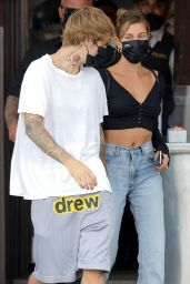 Hailey Bieber and Justin Bieber - IL Pastaio in Beverly Hills 09/08/2020