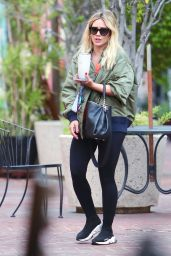 Hilary Duff in an Olive Bomber Jacket and Balenciaga Slip-on Trainers - Los Angeles 09/07/2020