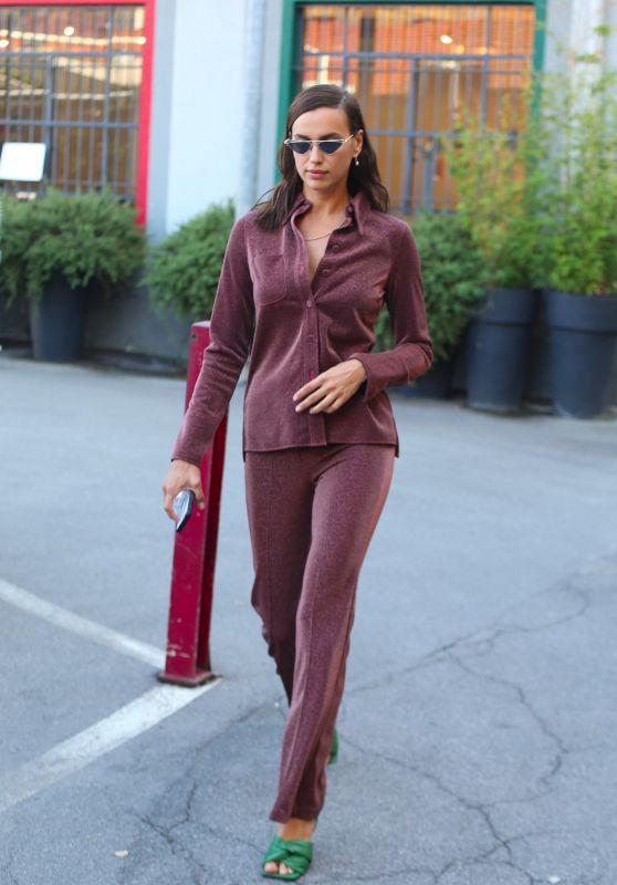 Irina Shayk in Maroon Co-ords - Airport in Milan 09/23/2020