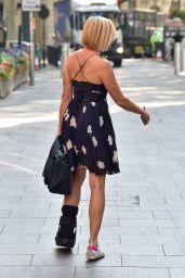 Jenni Falconer Wears a Fracture Walking Boot - London 09/15/2020