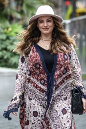 Kelly Brook in a Patterned Cardigan and Black Boots - London 09/03/2020