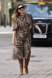 Kelly Brook in a Tiger Print Dress at the Heart Radio Studios in London 09/18/2020