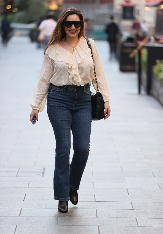 Kelly Brook in Tight Denim and Blouse at Heart Radio in London 09/21/2020
