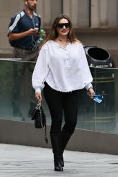 Kelly Brook in White Blouse and Black Trousers - London 09/09/2020