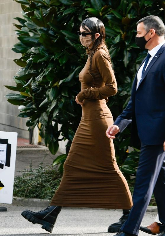 Kendall Jenner in a Brown Dress - Milan 09/26/2020