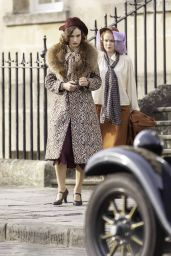 """Lily James - Filming Scenes for """"The Pursuit Of Love"""" in Bath 09/15/2020"""