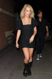 Lottie Moss Leggy in Mini Dress - Leaves Stanley