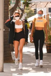 Madison Beer in a White Sports Bra and Pair of High-Waisted Shorts - Shopping in Beverly Hills 09/21/2020