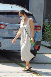 Minka Kelly in a Long Dress - Leaves a Friends House in LA 09/18/2020