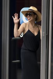 Myleene Klass in a Plunging Black Maxi Dress and a Large Sun Hat - London 09/04/2020