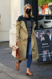 Nicky Hilton in a Quirky Trench Coat With the Top Half Exposed to the Flannel Lining - NY 09/22/2020