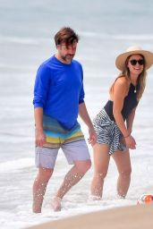 Olivia Wilde in a Scalloped Swimsuit With Jason Sudeikis on the Beach 09/16/2020