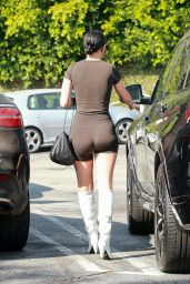 Rumer Willis in a Black Skin-Tight Outfit and White Boots - Shopping in LA 09/04/2020