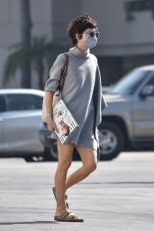 Selma Blair in Asymmetrical Grey Sweater Dress - Grocery Shopping in Studio City 09/22/2020