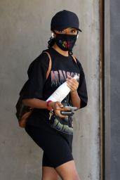 Skai Jackson Wearing a Malcolm X T-Shirt and BLM Mask - LA 09/18/2020