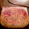 Vintage Tooled Leather Mushroom Bag