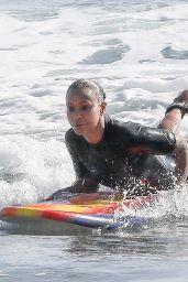 Zoe Saldana - Surf Session in Malibu 09/20/2020