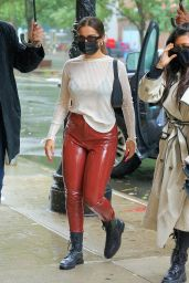 Addison Rae in Red Patent Leather Slacks and a Sweater 10/12/2020