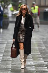 Amanda Holden in 70s-inspired Mini Dress and Cream Boots - London 10/05/2020