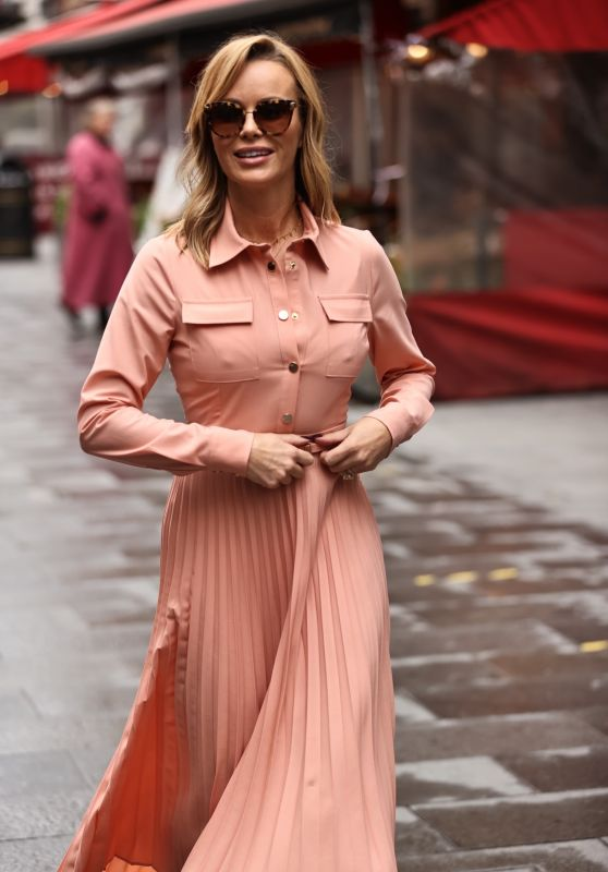 Amanda Holden in a Pink Dress - Global Studios in London 10/06/2020