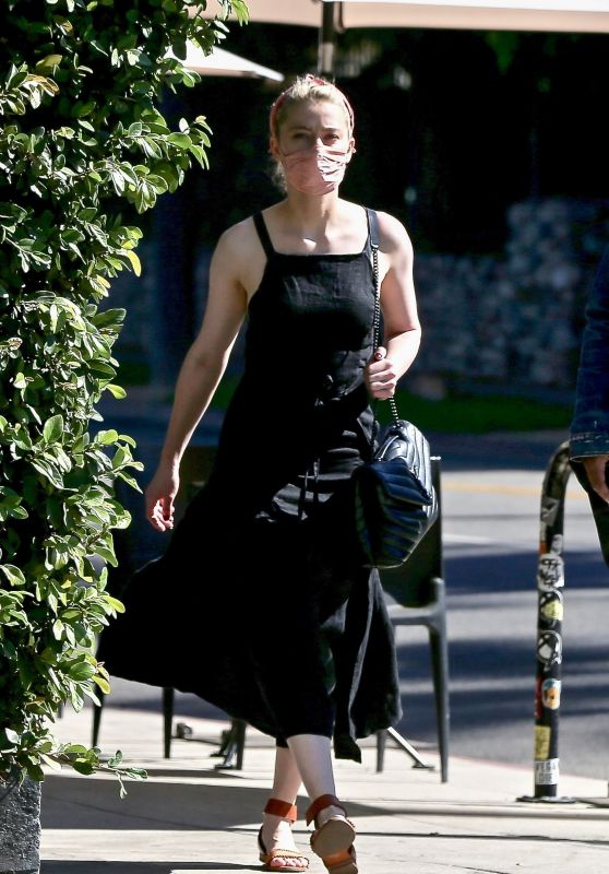 Amber Heard in a Black Dress - Goes to a Book Store in Los Feliz 10/30/2020