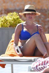 Amy Hart in a Blue Bikini at a Pool Portugal  10/04/2020