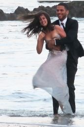 Ana De Armas - Films a Beach Kiss Scene For a Perfume Commercial in Malibu 10/21/2020