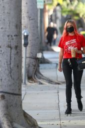 Ashley Benson in a Red Coca-Cola Branded T-shirt at Alfred