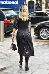Ashley Roberts in a Black Leather Dress and Black Boots at the Heart Radio Studios in London 10/06/2020