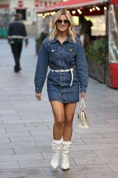 Ashley Roberts in a Denim Mini Dress and Striking White Boots - London 10/09/2020