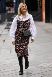 Ashley Roberts in a Printed Dress and Shirt - London 10/12/2020