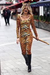 Ashley Roberts in a Tiger Print Catsuit - Celebrates Halloween in London 10/30/2020