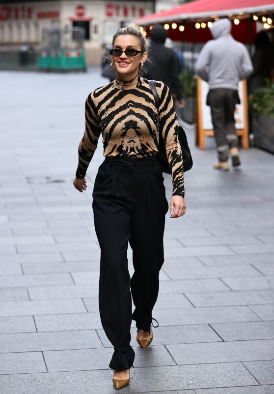 Ashley Roberts in a Tiger Print Top - London 10/13/2020