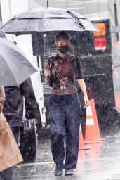 Bella Hadid - Battles Rainy Weather While On Set of the Michael Kors Photoshoot in NY 10/17/2020