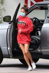 Brooke Burke in an Oversized Red Sweater in Malibu 10/08/2020