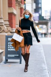 Charlotte McKinney in Two-Piece Mini Dress and Suede Trench Coat - Shopping in NYC 10/08/2020