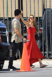 Chrishell Stause in a Red Dress - Heads to the DWTS Studio in LA 10/03/2020