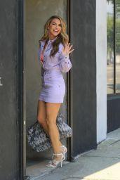 Chrishell Stause in Purple Denim Dress - Heads in the DWTS Studio in LA 10/06/2020