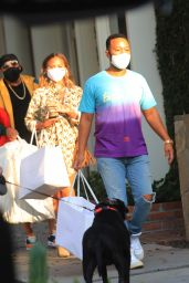 Chrissy Teigen and John Legend - Shopping on Melrose Place 10/16/2020