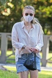 Dakota Fanning in White Blouse and Blue Jean Cutoffs - Los Angeles 10/13/2020