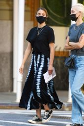 Dianna Agron in a Black Tie-Dye Skirt - NYC 10/20/2020